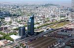 Foto #58938 - Aerial view of sheds and containers of the  port of Montevideo. Antel Tower. Aguada Park